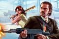 Картинка девушка, мужик, бита, Grand Theft Auto V, Rockstar Games, GTA Online
