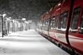 Картинка зима, снег, железнодорожная станция