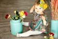 Картинка ребенок, розы, девушка, лицо, цветы