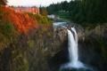 Картинка лес, деревья, скала, водопад, USA, США, waterfalls