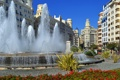 Картинка небо, цветы, дома, площадь, фонтан, Испания, Валенсия