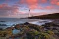 Картинка море, пейзаж, закат, побережье, маяк