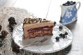 Картинка торт, вилка, слои, голубика