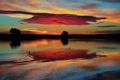 Картинка США, облака, утки, небо, Колорадо, Утро, озеро