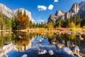 Картинка осень, лес, деревья, горы, озеро, река, камни