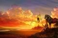Картинка девушка, пейзаж, закат, лошадь, доспехи, флаг, арт
