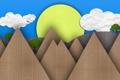 Картинка лето, солнце, деревья, горы, день, картон, mountains