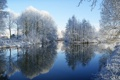 Картинка зима, лес, небо, снег, река, фото