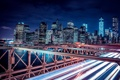 Картинка США, река, здания, ночь, вид, высотки, город
