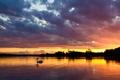Картинка небо, вода, солнце, облака, деревья, пейзаж, закат