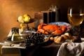 Картинка вино, лимон, бокал, краб, еда, арт, хлеб