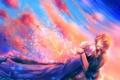 Картинка небо, облака, закат, птицы, аниме, арт, парни