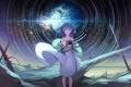 Картинка небо, девушка, звезды, аниме, арт, фотоаппарат, ringofive