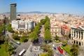 Картинка деревья, дороги, дома, площадь, Испания, вид сверху, Барселона