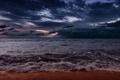 Картинка песок, море, волны, тучи, берег, вечер