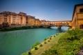 Картинка река, дома, Арно, Флоренция, Понте-Веккьо, Италия, мост