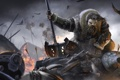 Картинка огонь, поле брани, The Hobbit, секира, сражение, гном, стрелы