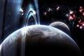 Картинка луна, планета, кольца, атмосфера, nebula, кратеры