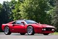 Картинка деревья, красный, фон, Феррари, Ferrari, суперкар, GTO