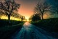 Картинка закат, пейзаж, деревья, дорога, небо, свет, Германия