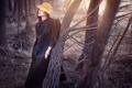Картинка лес, девушка, шляпка, Late winter