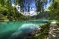 Картинка облака, река, небо, Most na Soci, дорожка, Словения, берег