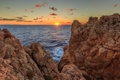 Картинка солнце, океан, скалы, рассвет, Майорка