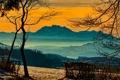 Картинка зима, небо, облака, деревья, закат, горы