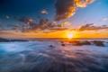 Картинка солнце, камни, океан, скалы, рассвет, берег, горизонт