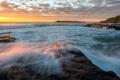 Картинка закат, пейзаж, скалы, волны, море