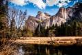 Картинка деревья, горы, река, берег, вершины, водопад, США