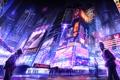 Картинка город, улица, небоскребы, неон, вечер, арт, вывеска