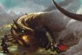 Картинка дракон, гномы, битва, иллюстрация к книге, Tolkien, Dwarves of Belegost, Naugrim