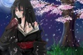 Картинка цветок, девушка, ночь, луна, сакура, арт, кимоно