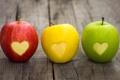 Картинка яблоки, цвет, светофор, фрукты, сердечко