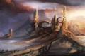 Картинка город, будущее, люди, фантастика, арт, by cloudminedesign, rusted land