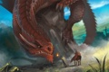 Картинка скала, огонь, дракон, лошадь, арт, старик, волшебник