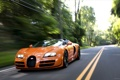 Картинка Roadster, Bugatti, Veyron, supercar, road, speed, orange