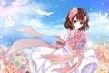 Картинка цветы, птицы, букет, арт, голуби, девочка, лента