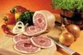 Картинка лук, укроп, мясо, овощи, колбаса, Meat, болгарский перец