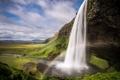 Картинка река, скалы, зелень, вода, человек, водопад, мост