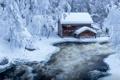 Картинка зима, снег, природа, река, дома, поток