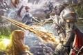 Картинка девушки, огонь, волшебство, магия, меч, эльфы, fire