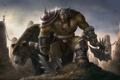 Картинка воин, WarCraft III frozen throne, орк, огр, медведь