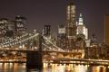 Картинка ночь, мост, огни, Нью-Йорк, Манхэттен