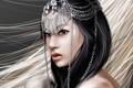 Картинка волосы, профиль, лицо, арт, девушка, украшение, взгляд