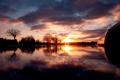 Картинка облака, небо, отражение, вода, солннце
