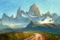 Картинка дорога, зелень, трава, снег, горы, холм, арт
