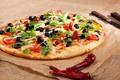 Картинка еда, сыр, перец, овощи, пицца, помидоры, маслины