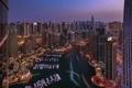 Картинка ночь, яхты, небоскреб, бухта, город, Дубаи, причалы